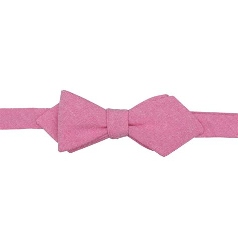 amaranth pink chambray cotton self tie pointed bow tie