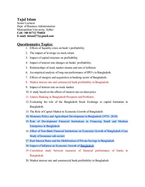 Finance Questionnaire Mba by Questionnaire Topics On Finance