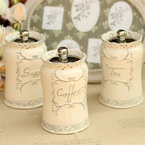 Country Kitchen Canisters Sets by 1pcs European Style Elegant White Ceramic Canister Set