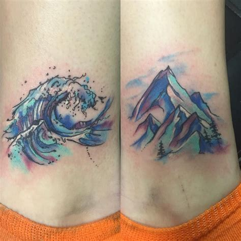 watercolor mountain tattoo sallyxo d 246 vme ankle tat