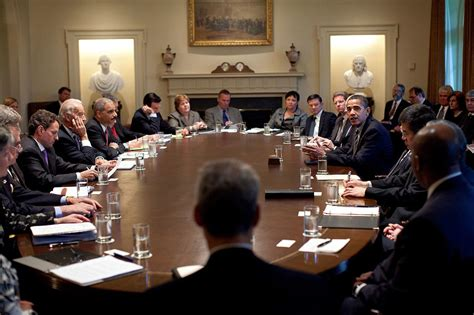 Cabinet Member by File President Barack Obama Meets With Members Of His