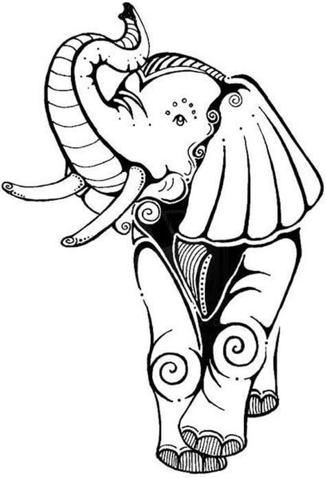 elephant tattoo clipart sweet cartoon black line elephant tattoo design