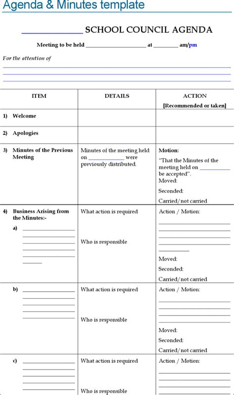 download blank school meeting agenda and minutes sle