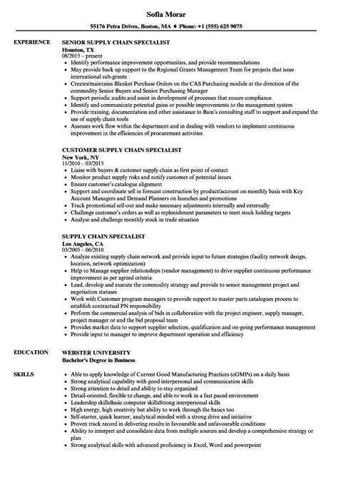 Supply Chain Resume by Supply Chain Specialist Resume Sles Velvet