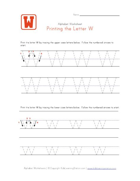 Letter W Worksheets by Traceable Letter W Preschool Alphabet Pages