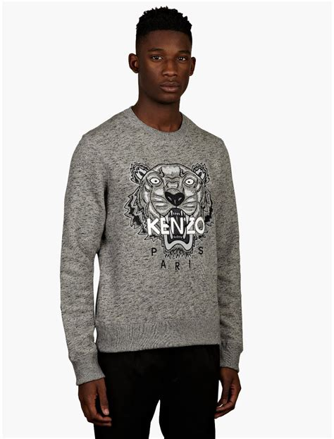 Men S | kenzo mens grey tiger print sweatshirt in gray for men