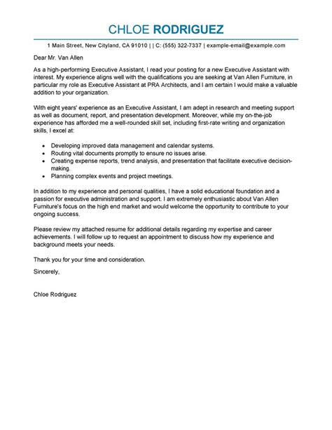 sle cover letter for executive assistant position