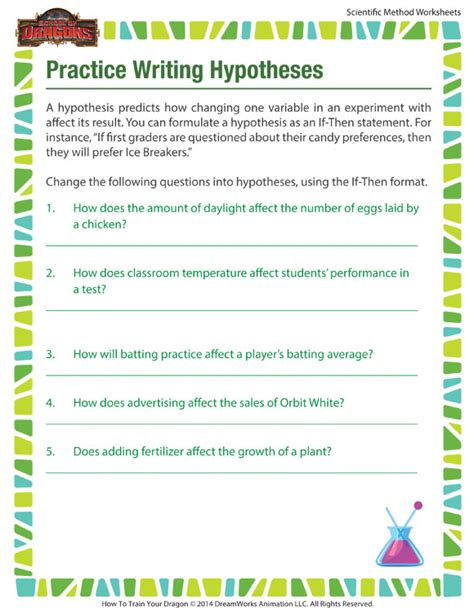 Writing A Hypothesis Worksheet practice writing hypotheses worksheet scientific method