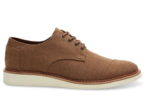 toms boots mens toms brogue chambray oxfords in brown for lyst