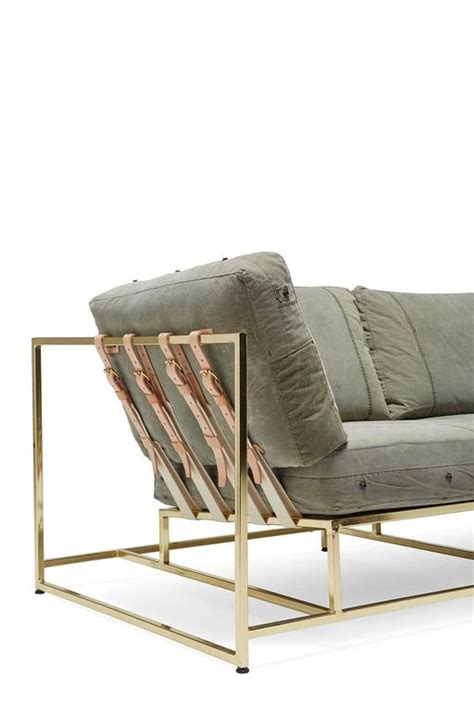 sofa military vintage military canvas and polished brass sofa for sale