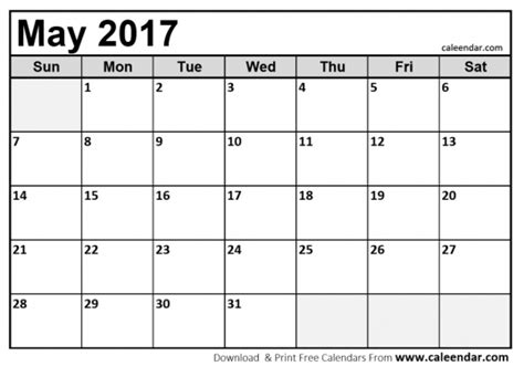 printable calendar 2017 waterproof paper may 2017 calendar waterproof printable calendar template