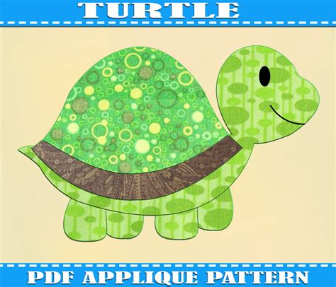pattern for etsy turtle applique pattern template pdf by adornablepatterns