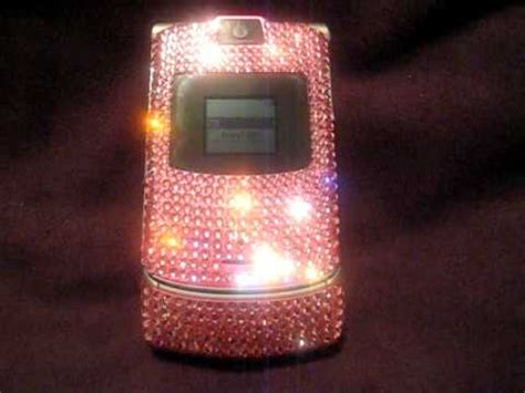 Stylish Pink Leather Nikau For The Razr V3 by Swarovski Motorola Razr V3