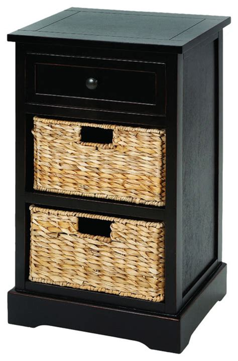 accent table with baskets malibu 3 drawer night stand with wicker baskets espresso