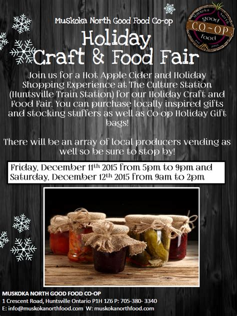muskoka north good food co op holiday craft food fair