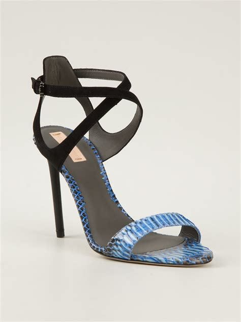 blue high sandals reed krakoff high heel sandal in blue lyst