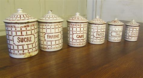 french enamel canister set antiques atlas lovely set of french enamel food canisters