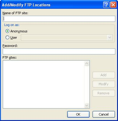 tutorial java ftp add or modify ftp locations ftp site 171 editing