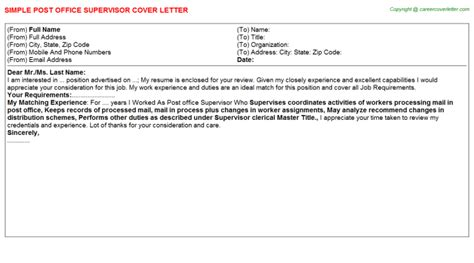 Post Office Counter Clerk Cover Letter by Clerk Post Office Counter Cover Letters Sles