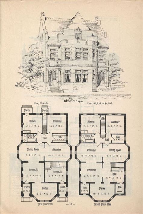 victorian blueprints old classic floor plans 1890s 2 story home artistic city