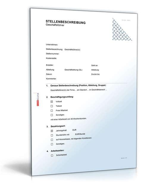 Word Vorlage In Excel Einfã Stellenbeschreibung Gesch 228 Ftsf 252 Hrer In Muster Zum