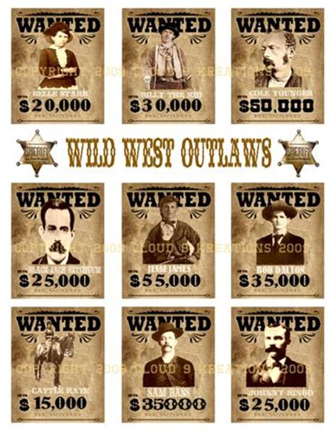 free printable wanted poster old west wild west outlaws wanted posters digital collage sheet