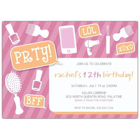 birthday invitation ideas for tweens girly tween birthday invitations paperstyle