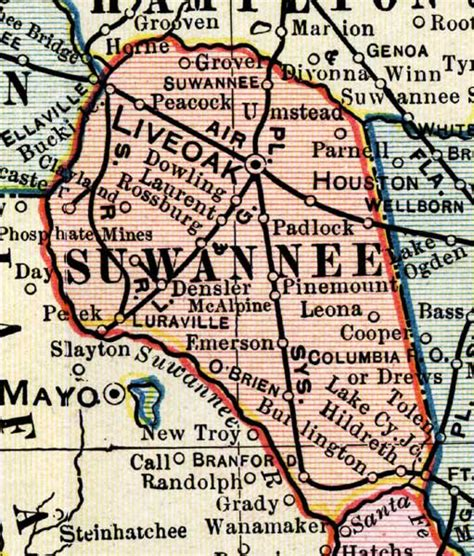 map of suwannee county florida map of suwannee county florida 1902