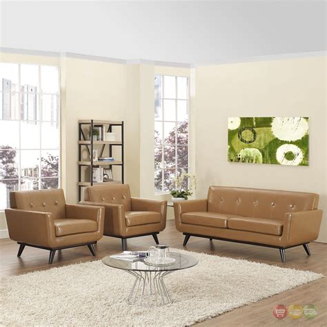 Tufted Living Room Set Engage Contemporary 3pc Button Tufted Leather Living Room Set