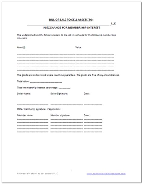 bill of sale for business template free llc bill of sale template diy business docs