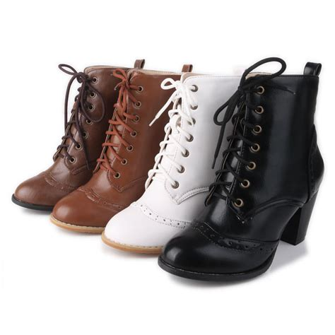 laced up high heels x fashion all size ankle boots wing tip lace up mid