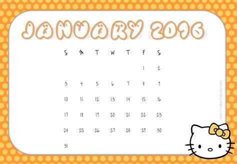 printable calendar 2016 hello kitty hello kitty monthly calendar 2016 printable free