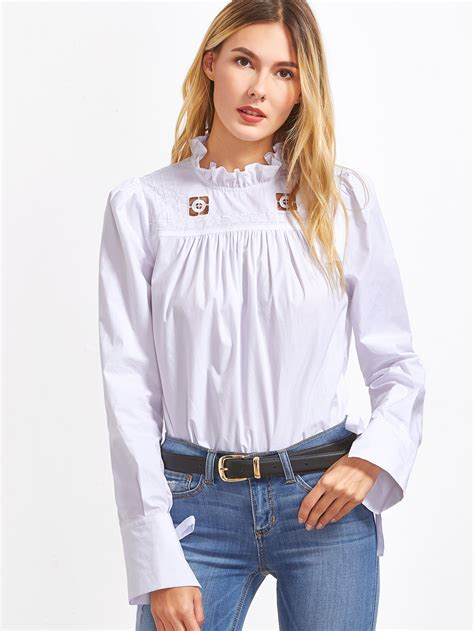 Sleeve Cutout Blouse white ruffle collar tie sleeve cutout embroidered blouse