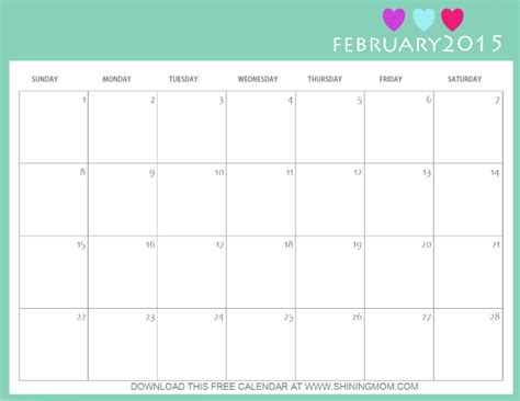 printable calendar mom designs you ll love free printable february 2015 calendar