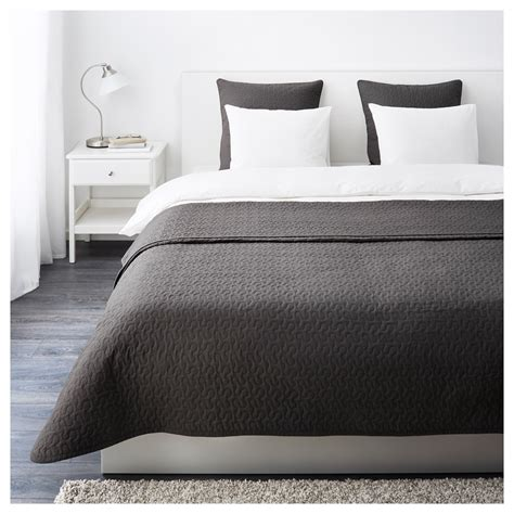 dark grey coverlet alina bedspread and 2 cushion covers dark grey 260x280