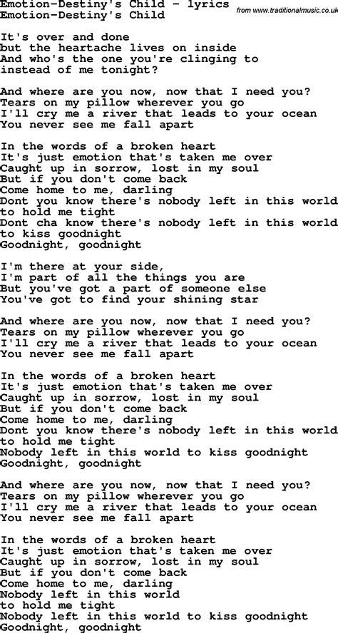child song song lyrics for emotion destiny s child