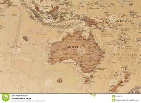 oceania map with country names ancient geographic map of oceania stock image image