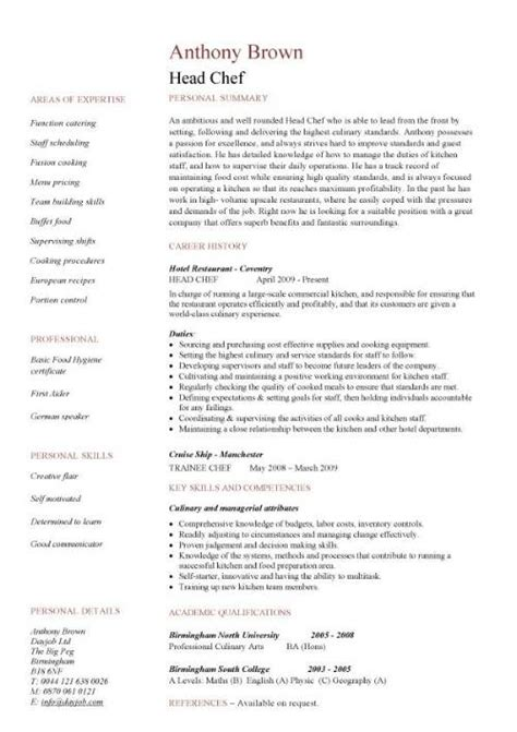 Chef Duties And Responsibilities by Chef Resume Templates Exles Description