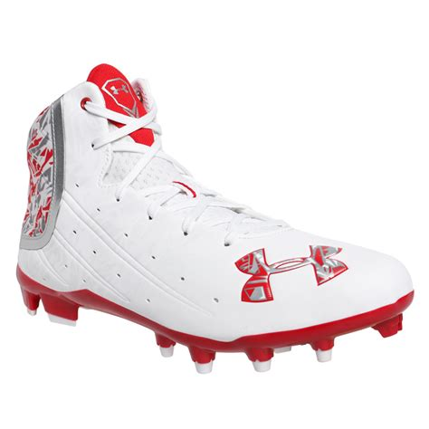 under armoir cleats under armour banshee mid mc lacrosse cleats white red