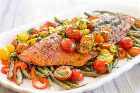 Poached Salmon Recipes by One Pan Roasted Harissa Salmon With Vegetables Recipe