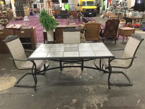 patio table with removable tiles outdoor metal patio table w removable ceramic tiles and 3 c