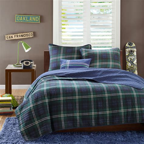 plaid twin bedding masculine navy blue green plaid teen boy bedding twin xl