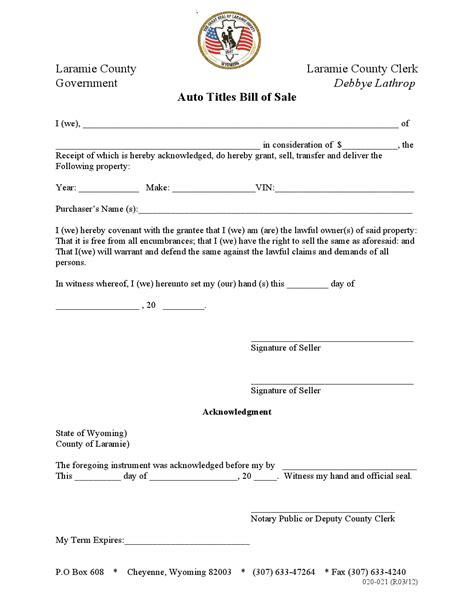 free laramie auto titles bill of sale form pdf word