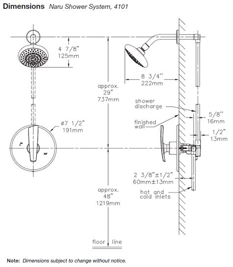 Height Of Shower Valve by Model