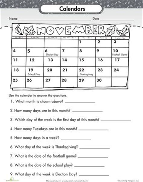 printable kindergarten calendar worksheets worksheets reading a calendar things to wear