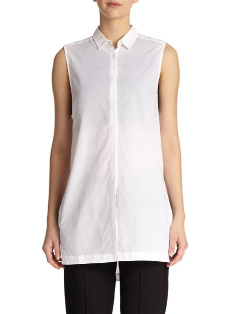 Tunic Blouse White helmut lang sleeveless cotton tunic blouse in white lyst