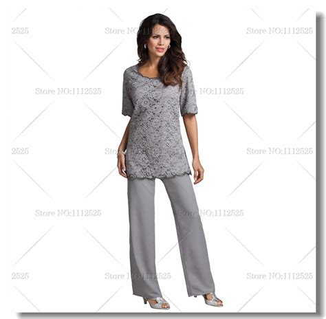 plus size dressy pant suits for weddings cheap gray lace and chiffon two piece mother of the bride