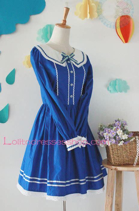 Bow Sailor Collar Sleeve Top cheap blue cotton navy collar sleeves bow sailor