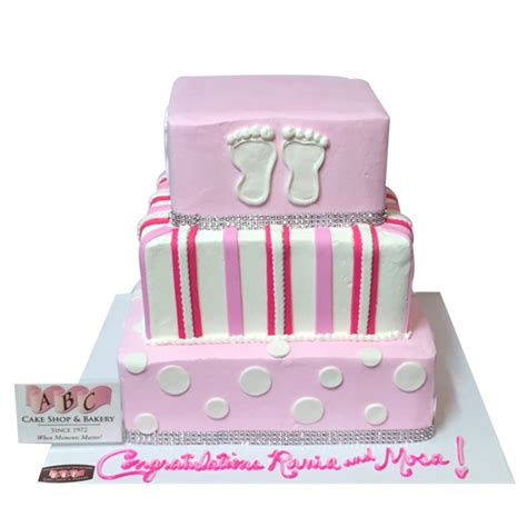 Baby Shower Square Cakes by 1810 3 Tier Square Baby Shower Cake Abc Cake Shop