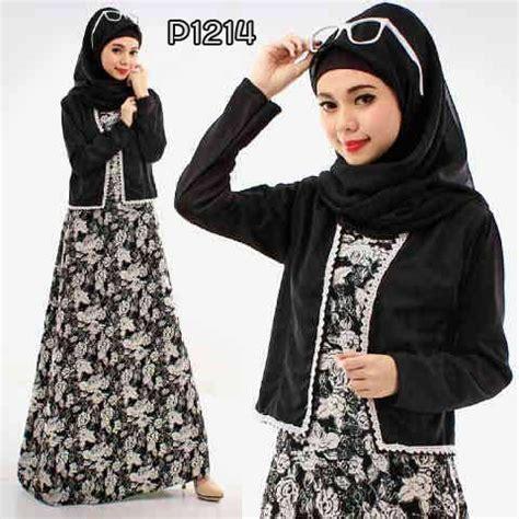 Dress Lengan Serut Baju Muslim Maxi Dress Talita Maxi baju muslim modern p1214 flower black untuk remaja modis
